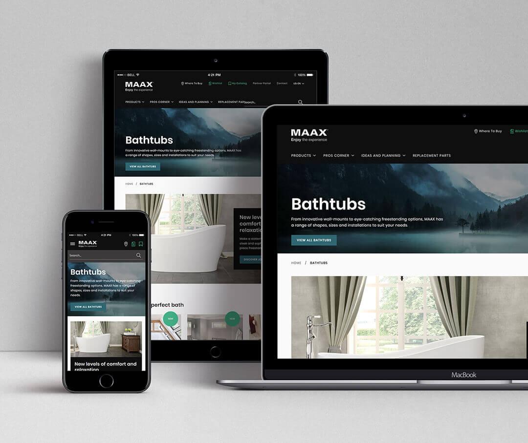 MAAX responsive website on different platforms.