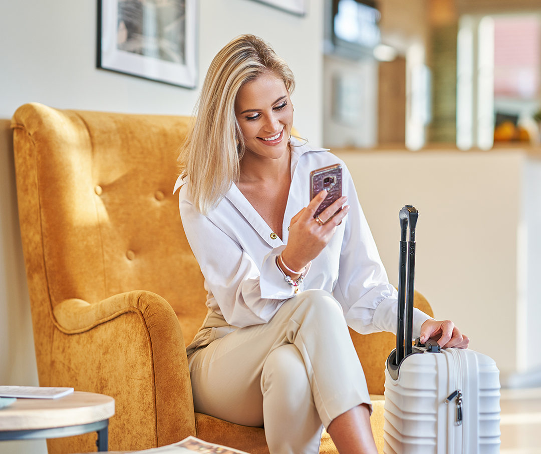 A woman on a phone