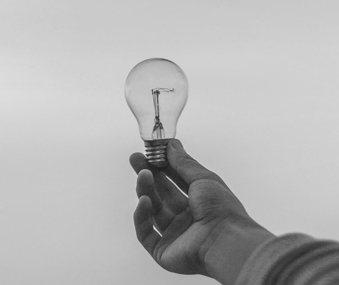 A hand holding a bulb.