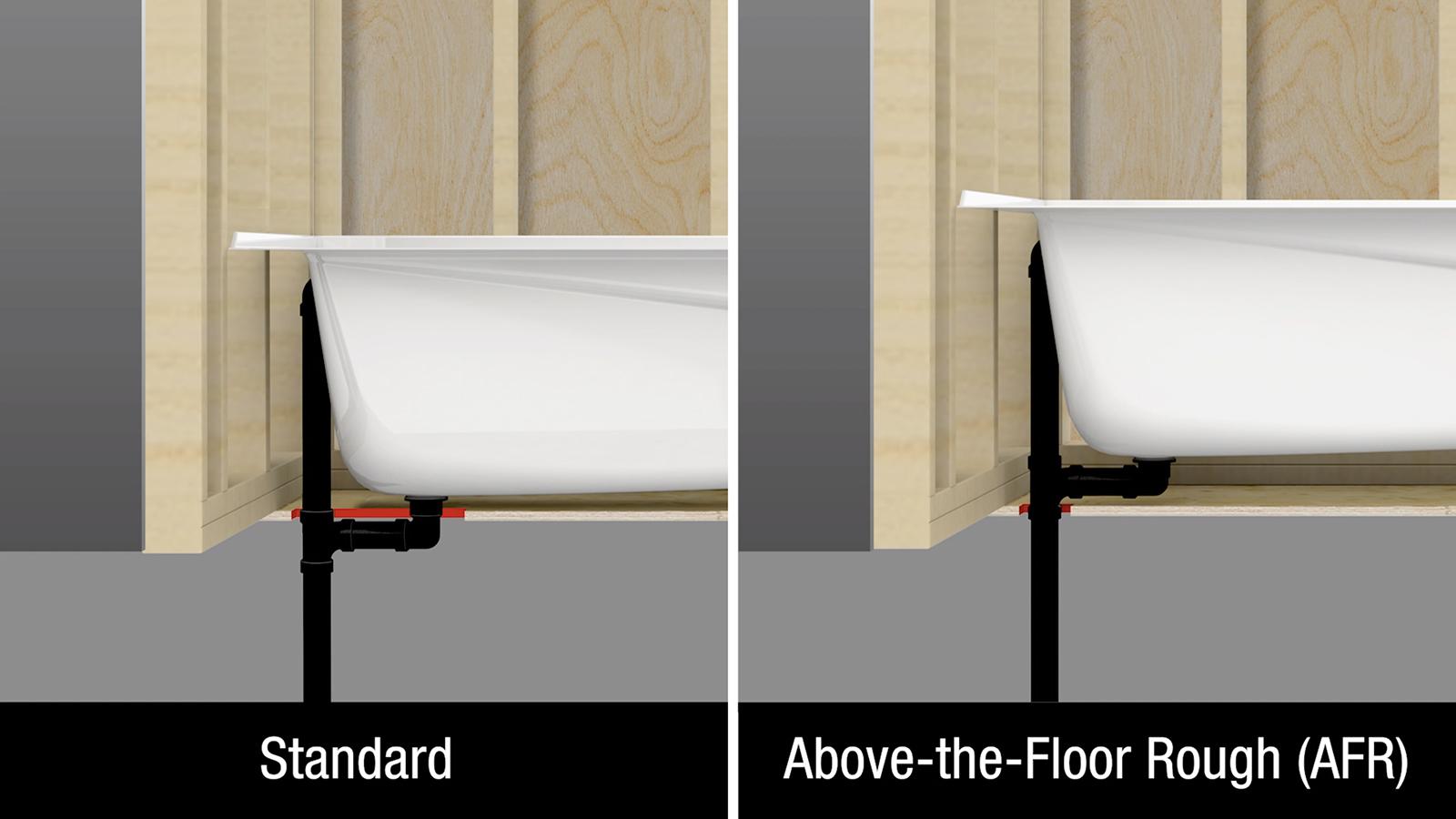Above-the-Floor Rough (AFR) for bathtubs