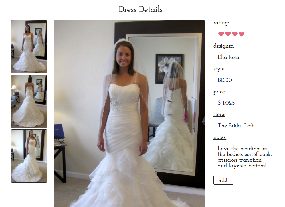 dress details page