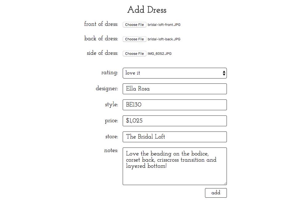 add dress page