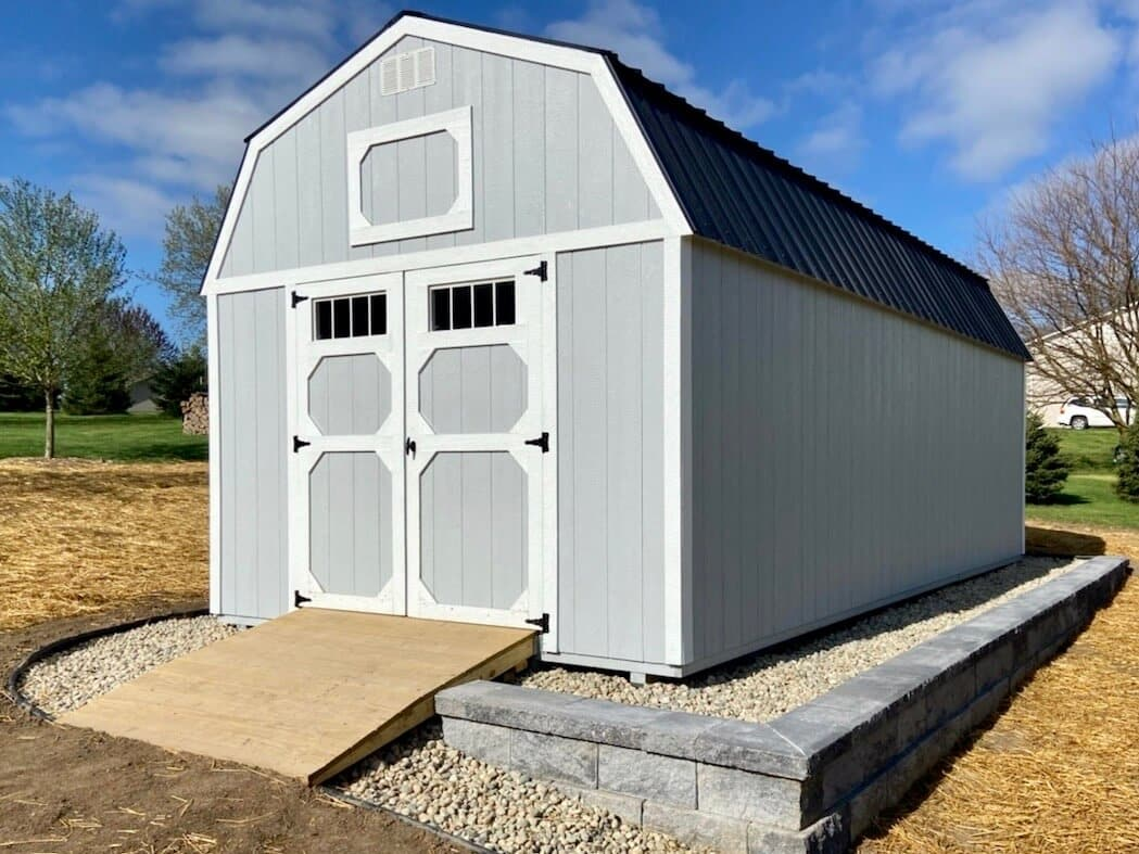 Amish Lofted Barn with Ramp delivered to Brooklyn, Michigan