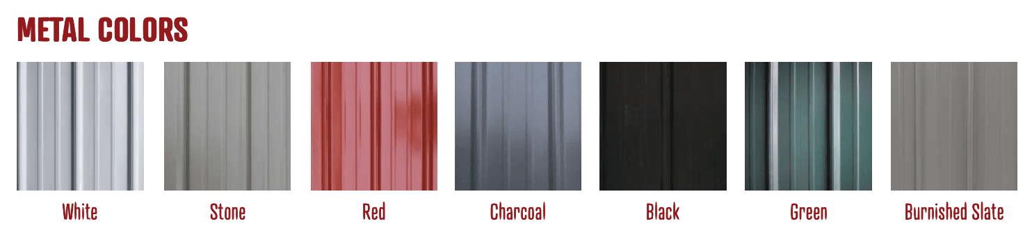 Metal Roof Colors at Amish Outdoor Buildings