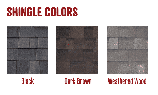 Shingle Roof Colors at Amish Outdoor Buildings