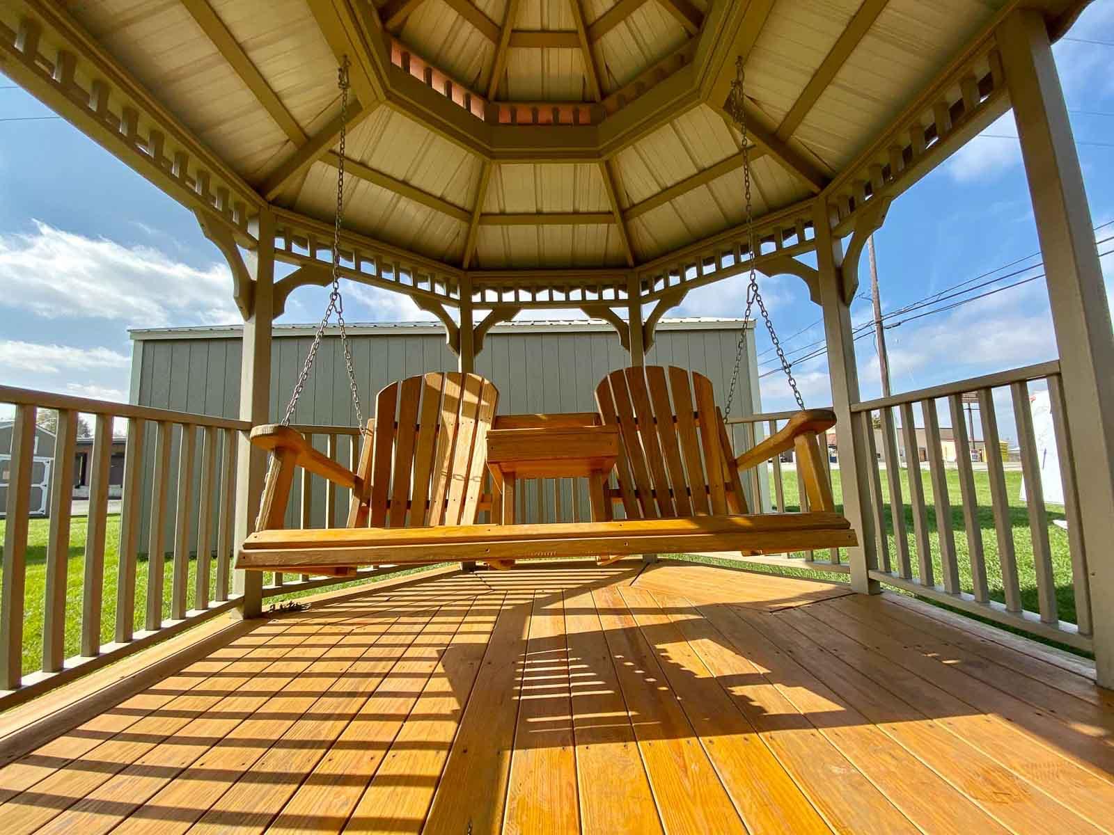 Amish Gazebo Swing on Sunny Day