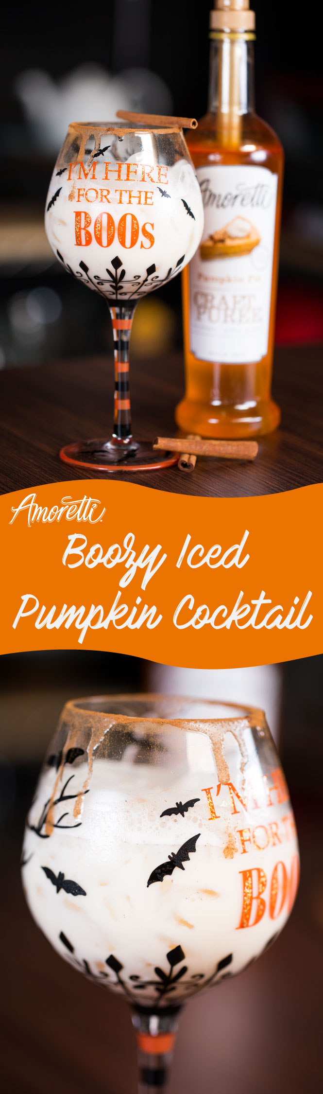 Amoretti Boozy Iced Pumpkin Cocktail: Perfect Halloween drink loaded with pumpkin pie flavor!