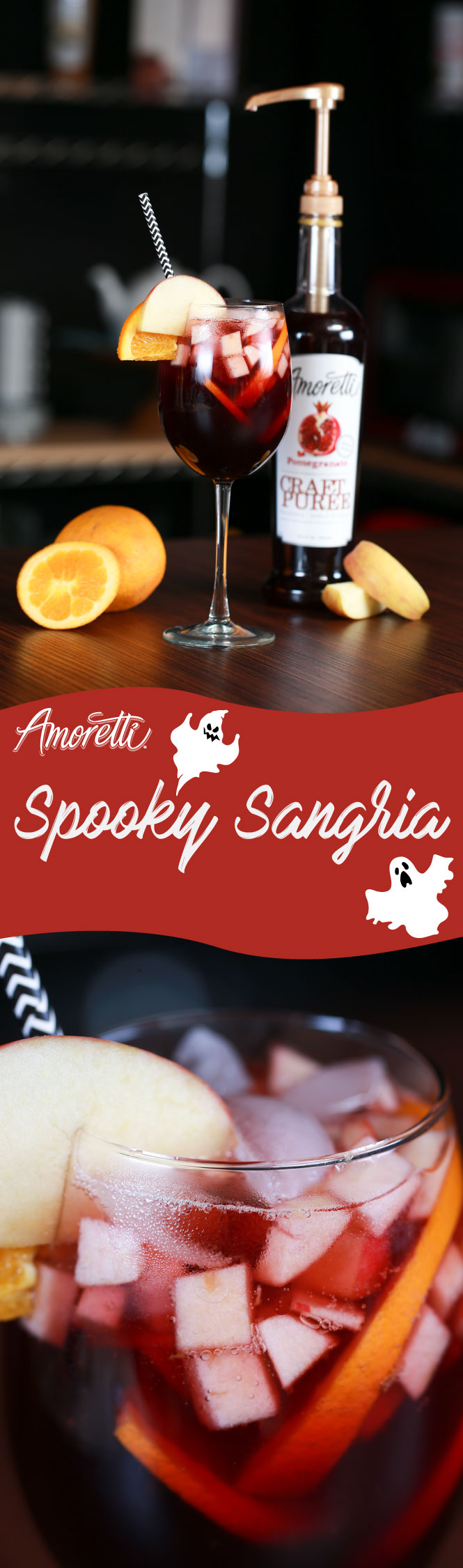 A kick of our Pomegranate Craft Purée™ is why this sangria tastes so spooky delicious!