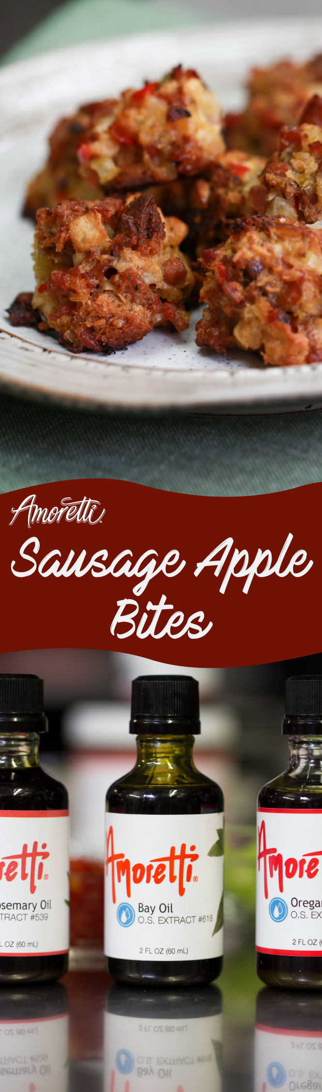 Amoretti Sausage Apple Bites: Tiny sausage apple bites but big on savory flavor!