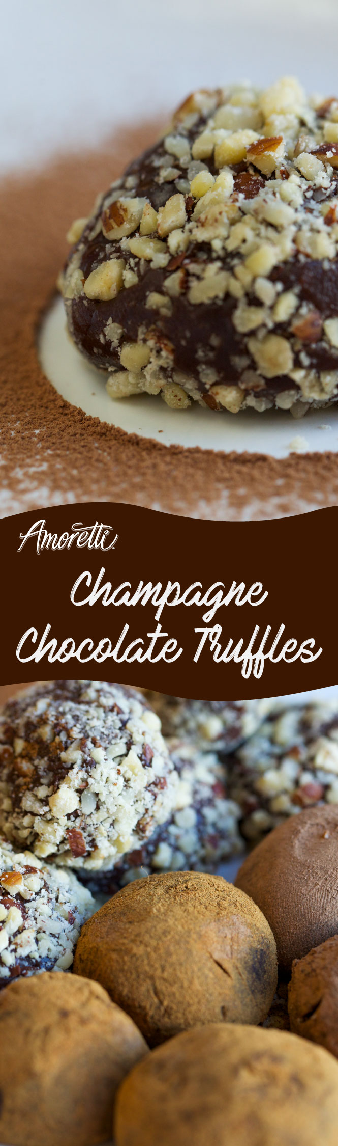 Super simple (and delicious!) chocolate champagne truffles! Made alcohol-free with Amoretti's Champagne Syrup.