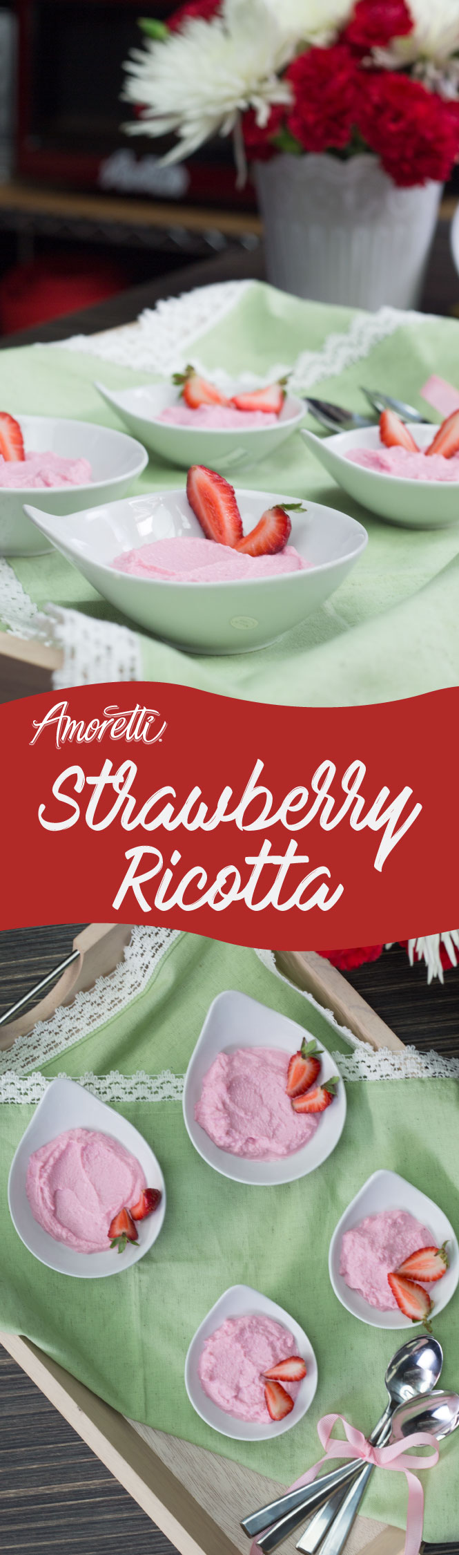The fresh strawberry flavor in this ricotta will remind you of springtime!