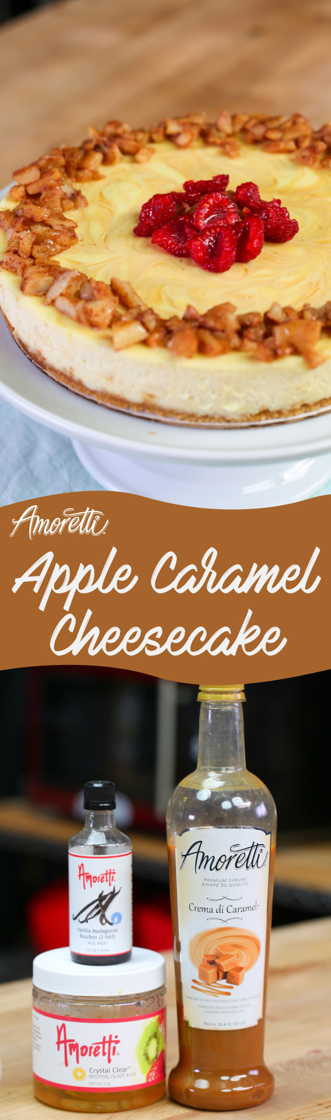 Amoretti Apple Caramel Cheesecake: Our apple caramel cheesecake is great dessert to enjoy with the family, so creamy and so good!