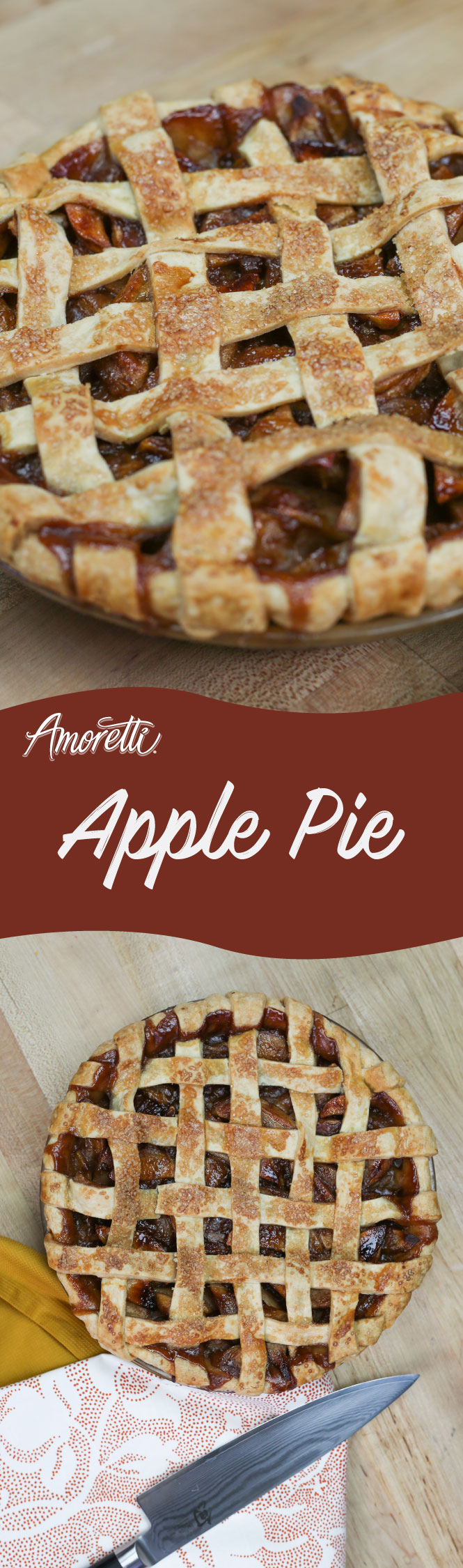 Amoretti Apple Pie with Lattice Crust: Get into the spirit of the holidays and make this delicious apple pie with a flaky crust!