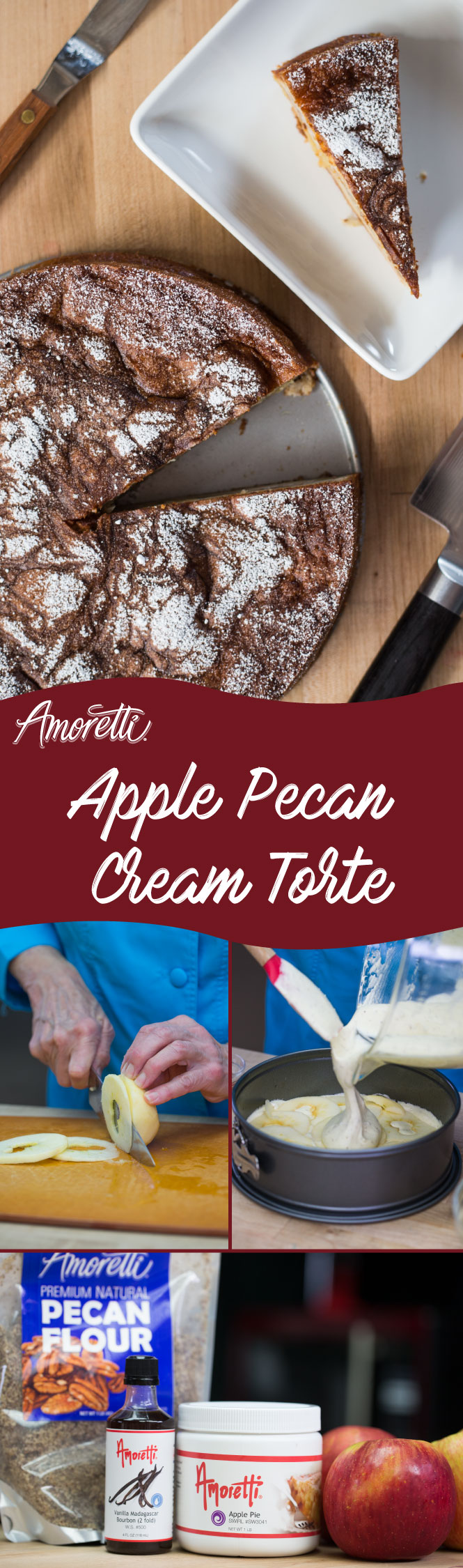 Amoretti Apple Pecan Cream Torte: This recipe is layered, super creamy, and just bursting with warm apple taste!