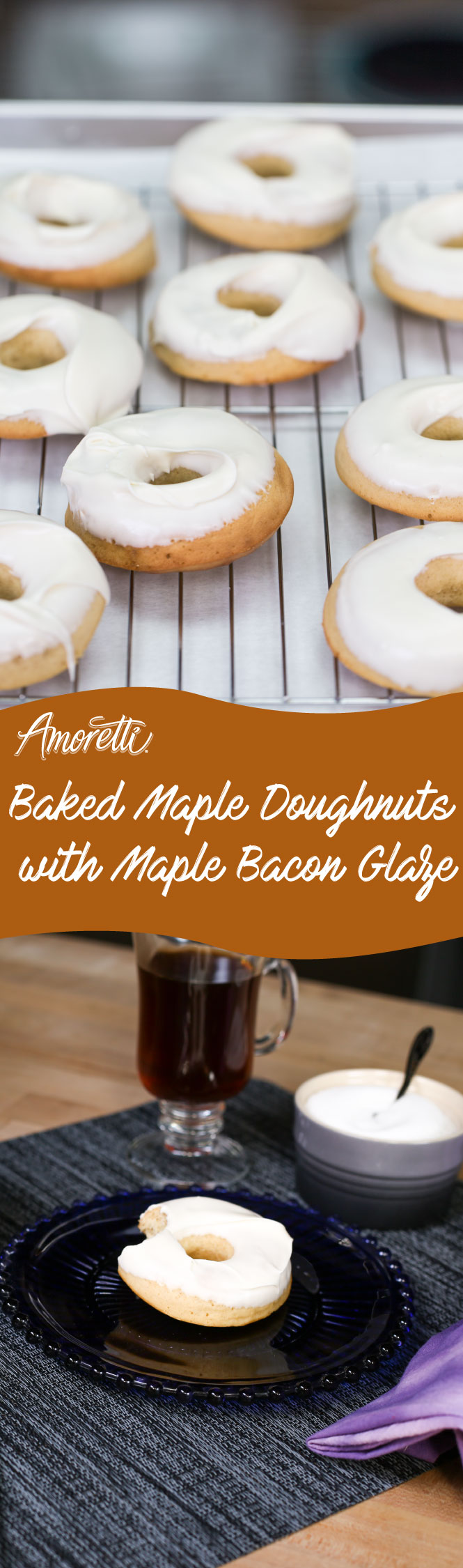 Amoretti Baked Maple Doughnuts with Maple Bacon Glaze: This amazing donut recipe has a sweet and tender fluffy texture with amazing maple bacon flavor!