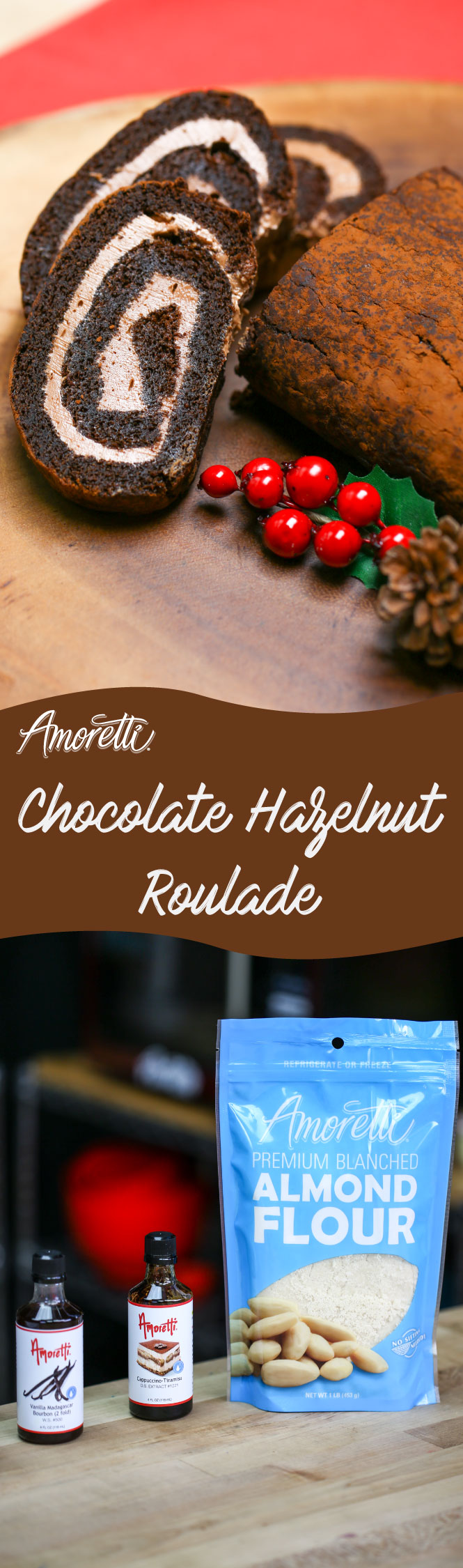 Treat yourself this holiday season with a moist chocolate hazelnut roulade!