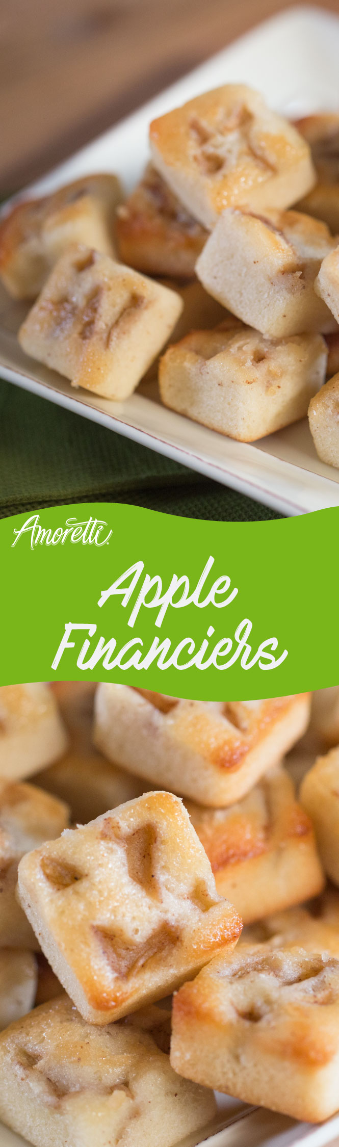Financiers are delicious, bite-size tea cakes. Try our version featuring caramelized apples!