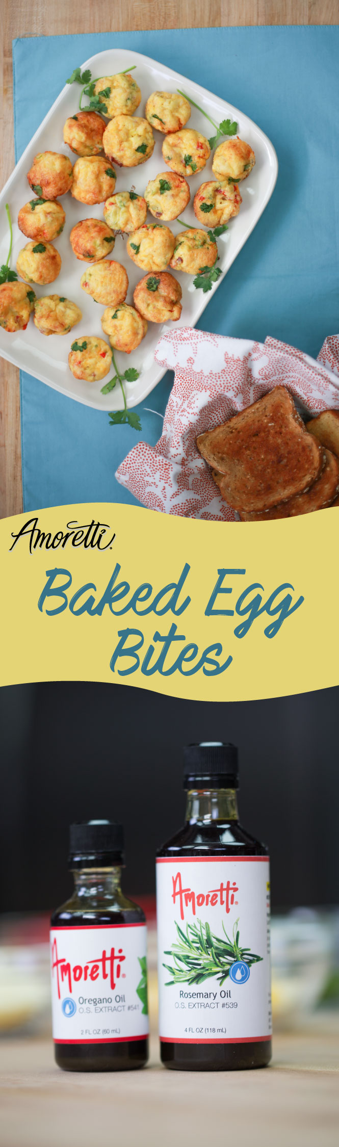 Amoretti Baked Egg Bites: Save these delicious Baked Egg Bites for a quick on-the-go breakfast!