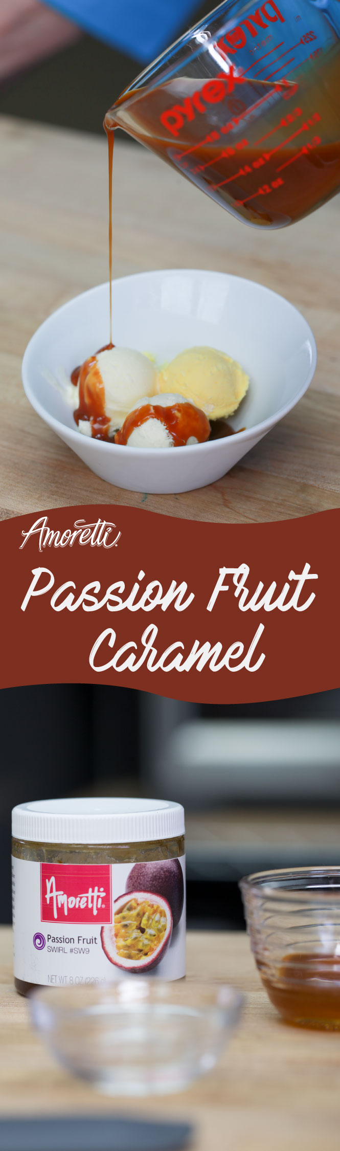 Caramel sauce with a delicious passion fruit twist!