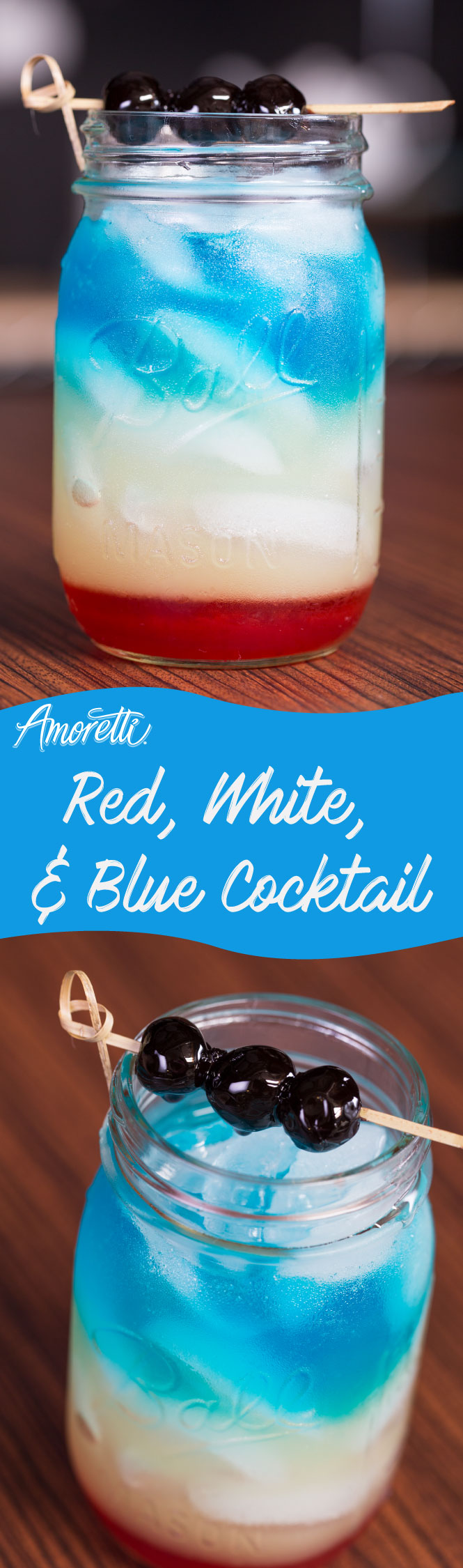 Light it up this 4th of July with our Red, White & Blue Cocktail!