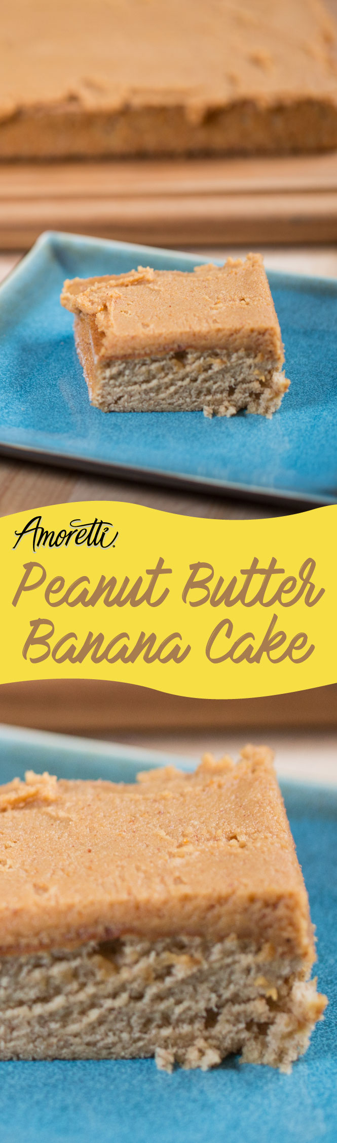 The greatest combo out there, peanut butter and banana, just got even better as a scrumptious cake!
