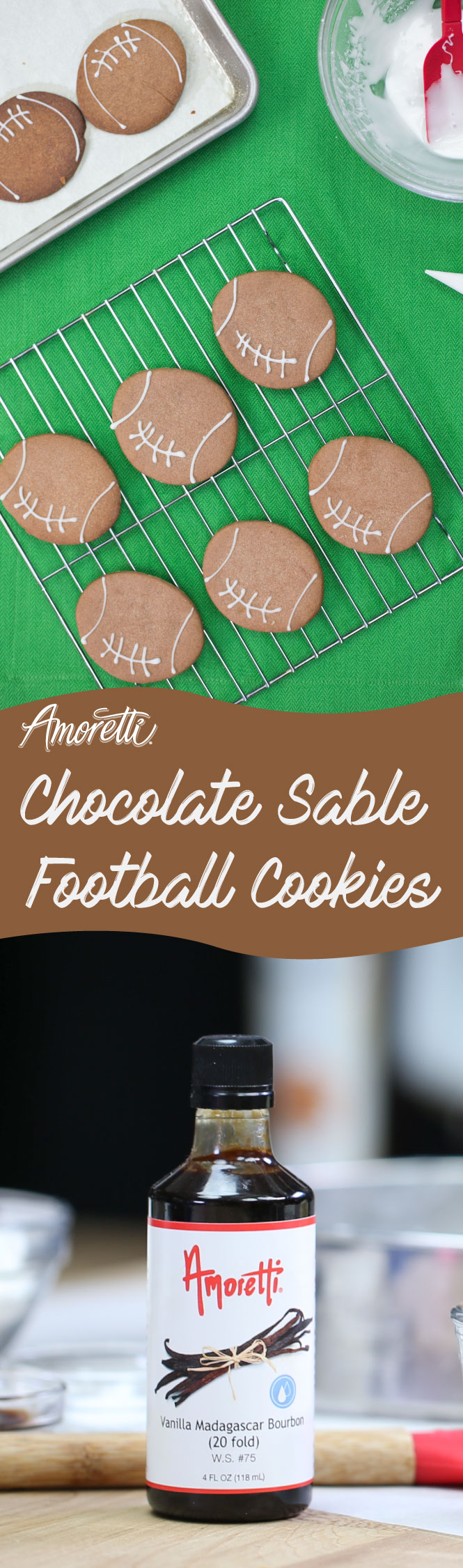 Chocolate football-shaped cookies are perfect for  the Super Bowl!