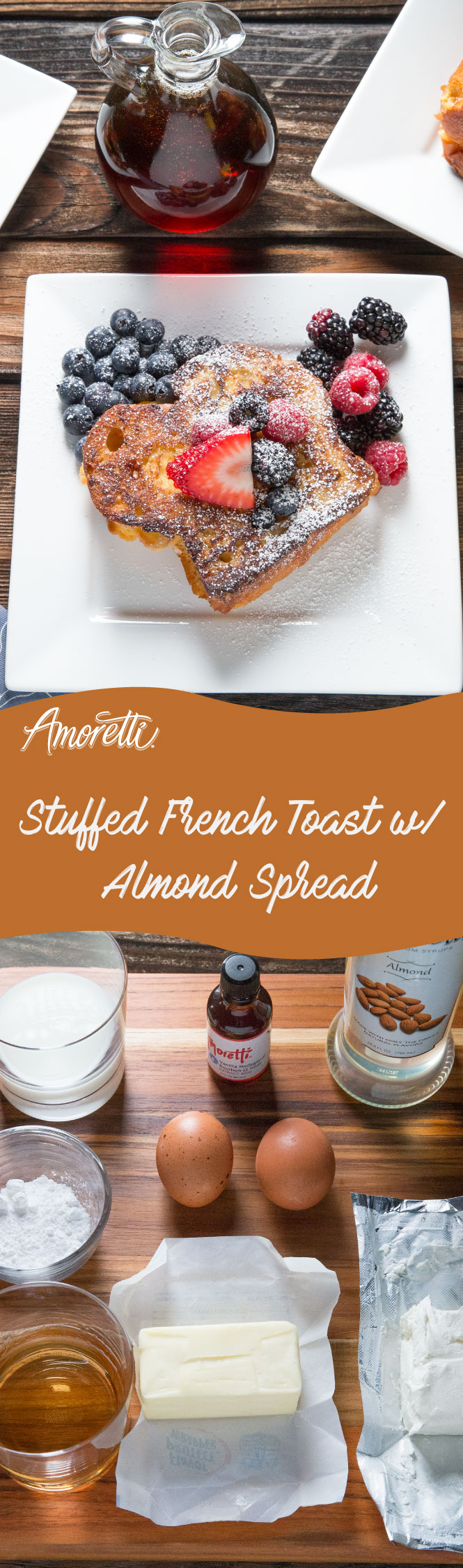 Brunch starts with a delicious french toast stuffed with the sweet flavor of almonds!