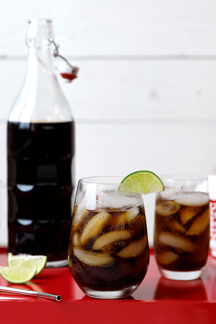Liter of Cola Punch with glasses