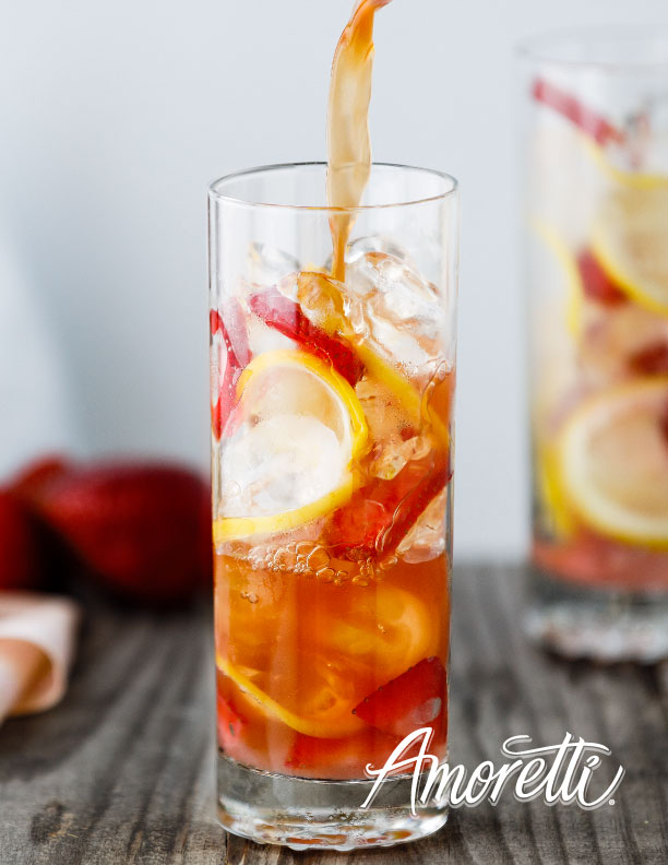 Amoretti Strawberry Rhubarb Sun Tea Recipe. Perfectly sweet, tart, and refreshing!