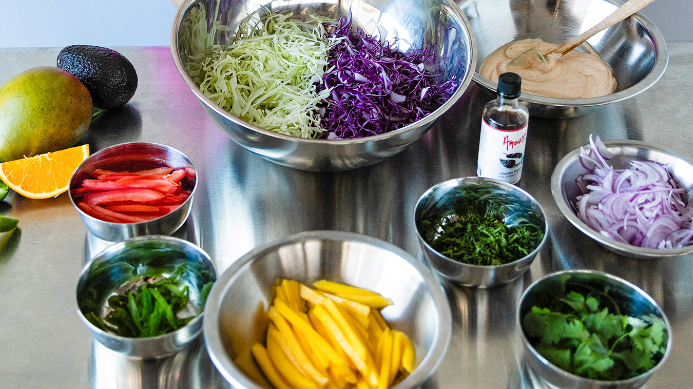 Everything we need to make Amoretti's Fish Tacos with Mango Slaw and Chipotle Lime Aioli