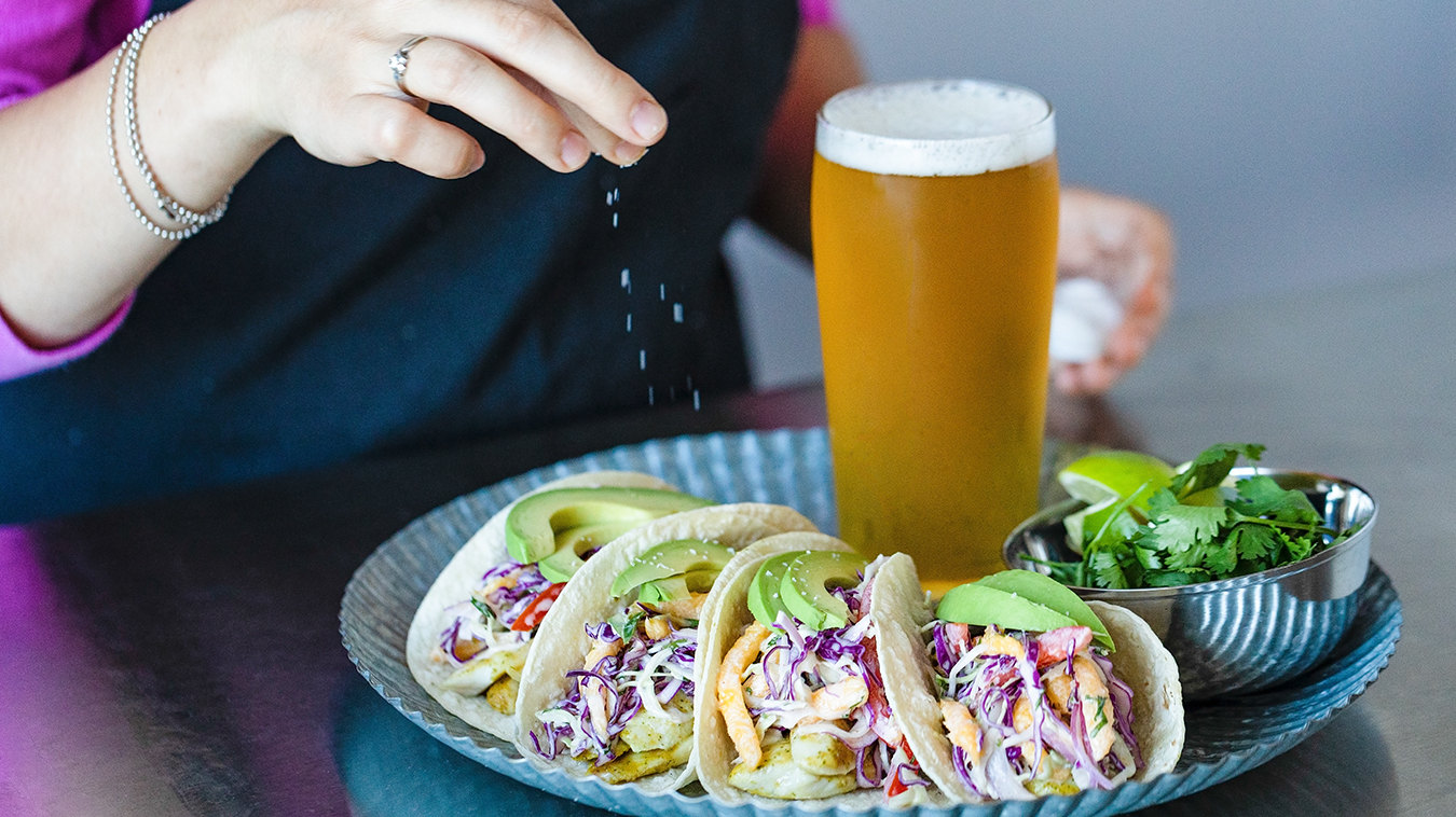 Amoretti Recipe: Fish Tacos with Mango Slaw and Chipotle Lime Aioli. Finishing touches.