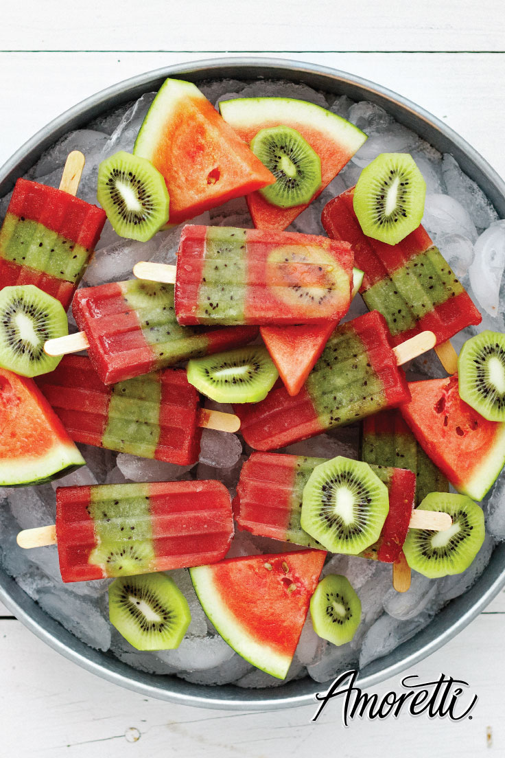 Amoretti Watermelon Kiwi Popsicle Recipe: A frozen treat to cool you off on warm summer days!