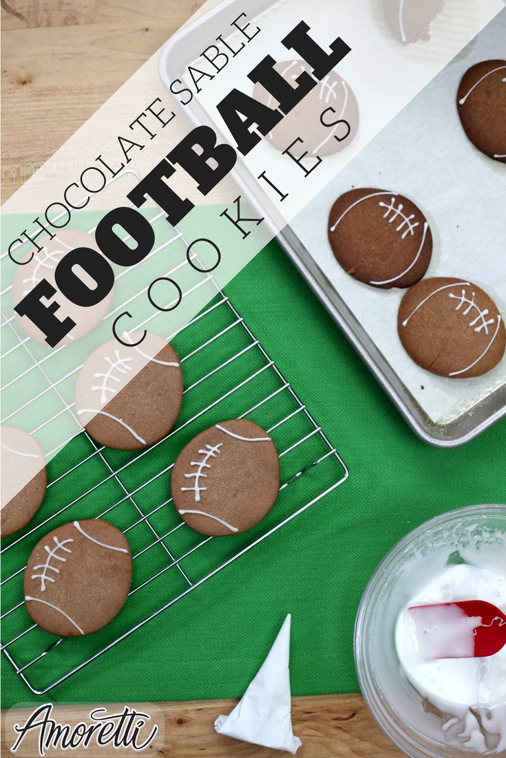 Amoretti Chocolate Sable Football Cookies