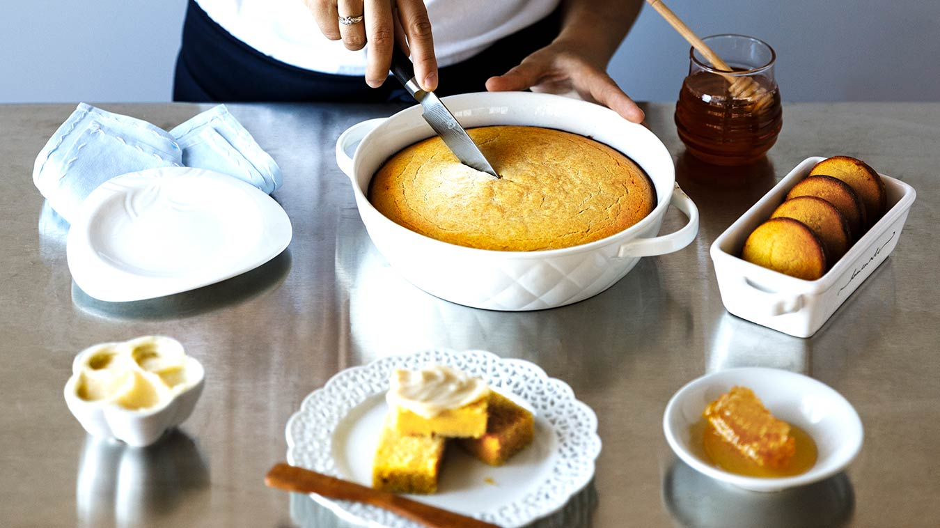 Amoretti Recipe: Gluten Free Cornbread with Sweet Corn Honey Butter