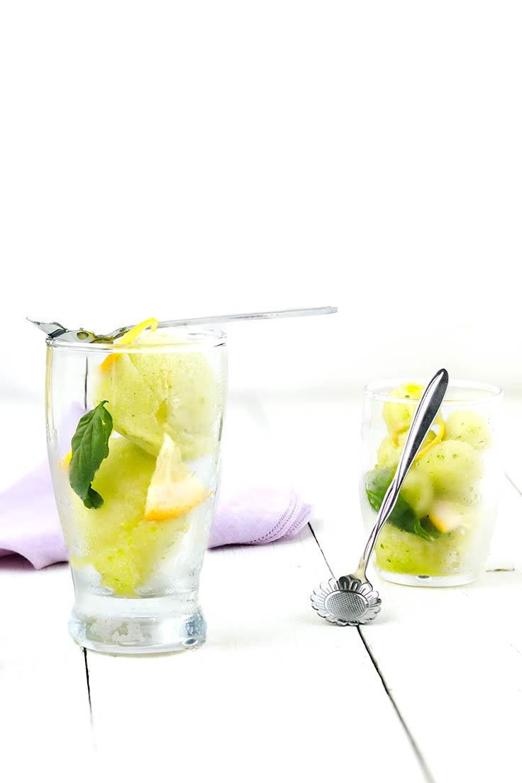Amoretti Lemon Basil Sorbet Recipe: Garnish with fresh basil and lemon zest!