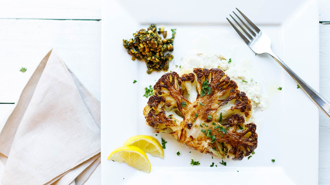 Amoretti Cauliflower Steaks with Pistachio Caper Salsa Recipe: Simply delicious!