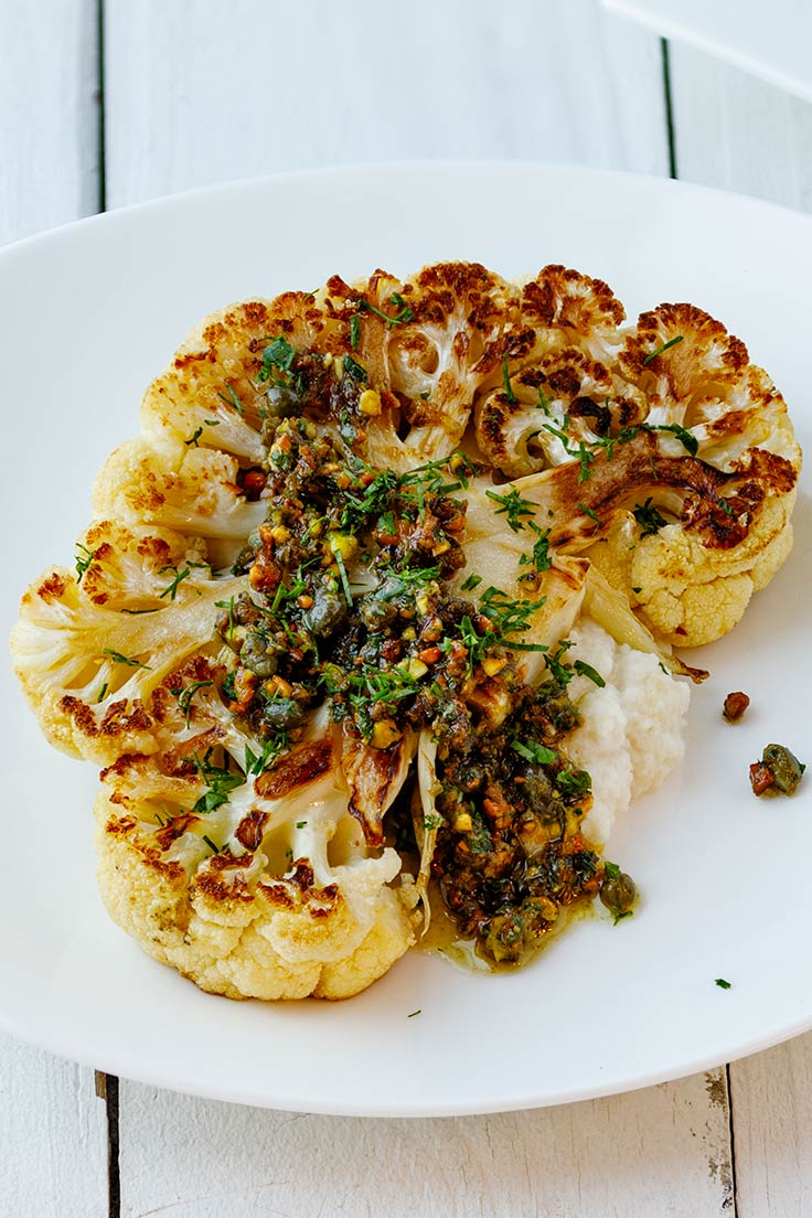 Amoretti Cauliflower Steaks with Pistachio Caper Salsa Recipe: Perfect for fall!