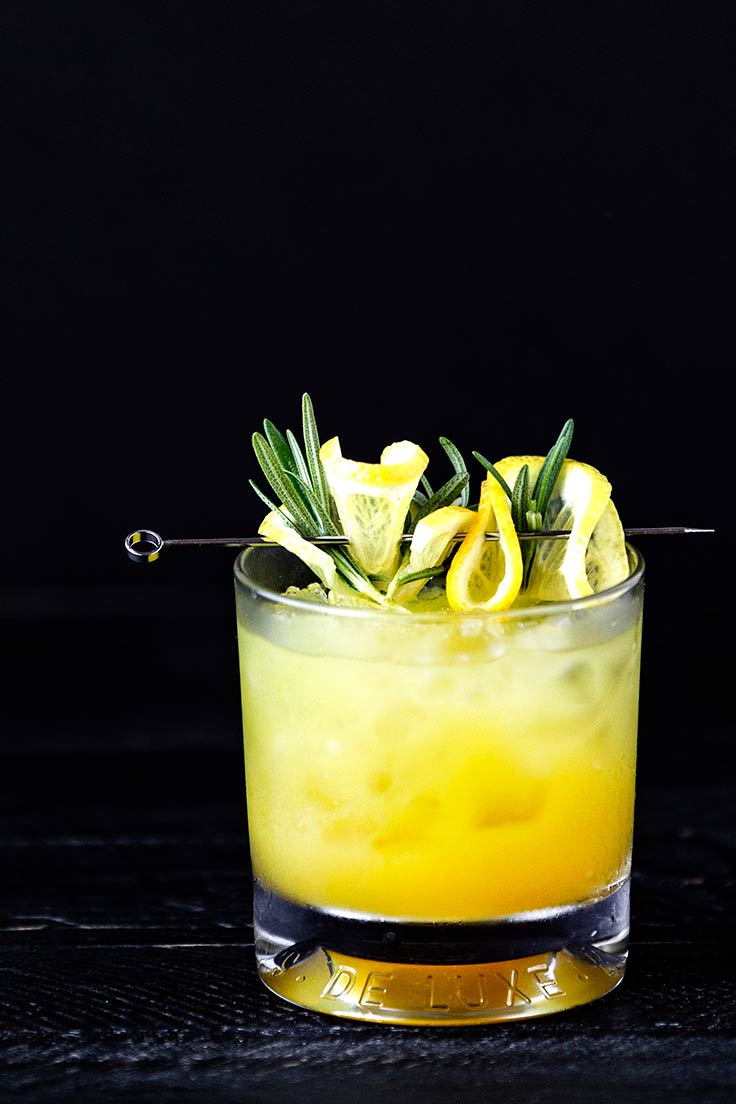Amoretti Rosemary Whiskey Sour Recipe: Rosemary adds a modern touch to your favorite whiskey sour
