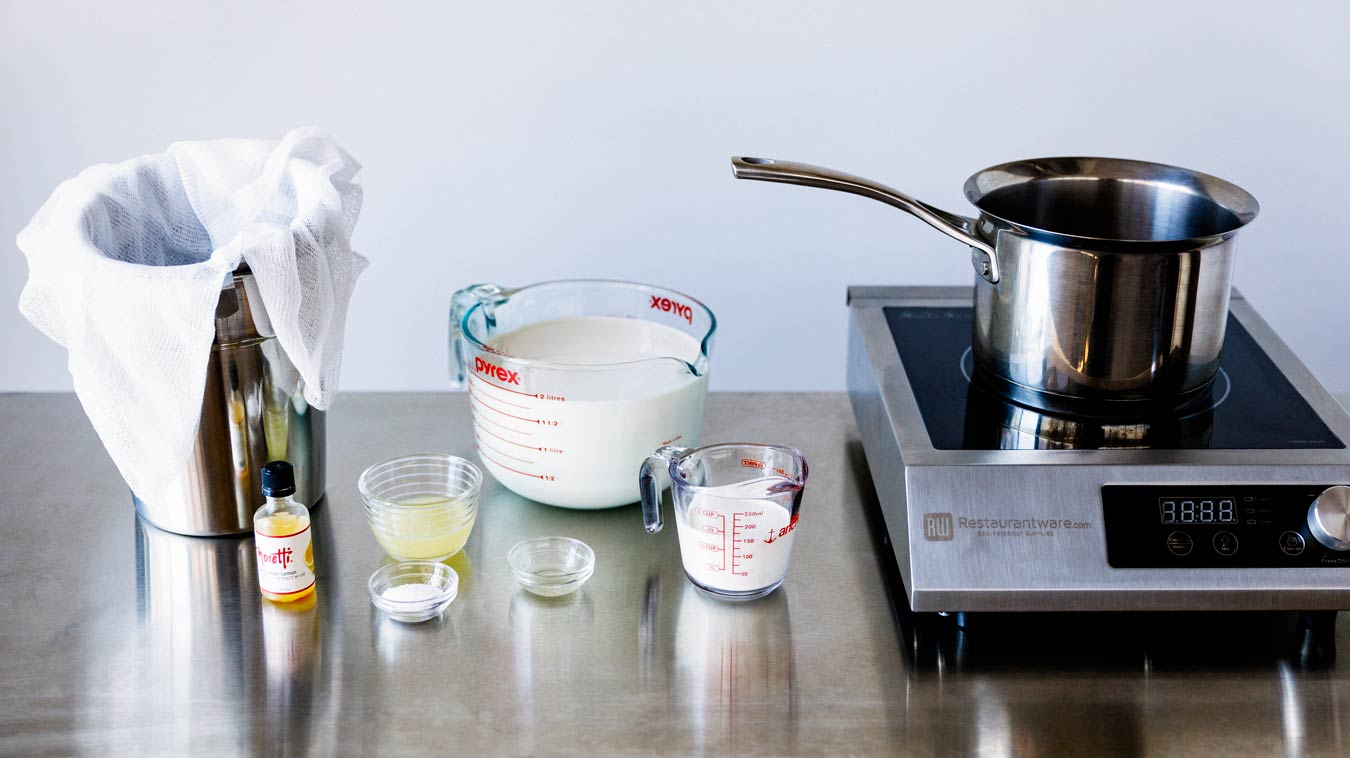 Everything we need to make Amoretti's Homemade Ricotta