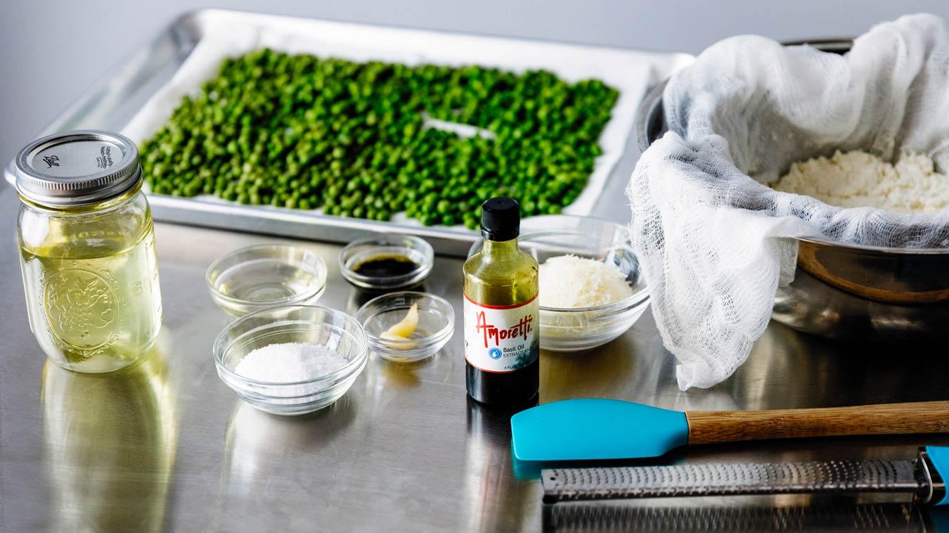 Everything we need to make Amoretti's Pea & Ricotta Spread recipe.