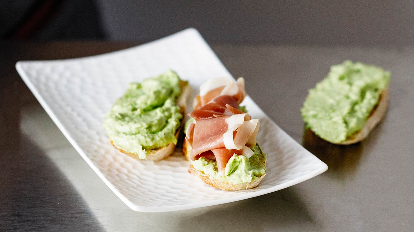 Amoretti Recipe: Pea & Ricotta Spread. Spread on crostini and top with proscuitto.