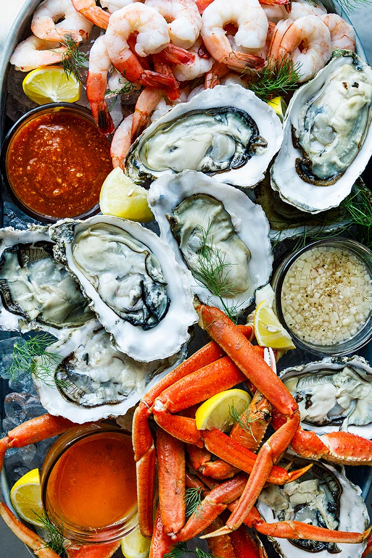Amoretti Recipe: Seafood Platter. A seafood smorgasbord for Labor Day!