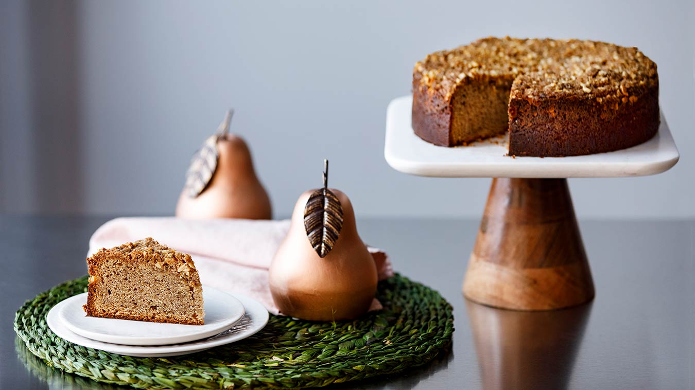 Amoretti Recipe: Pear Almond Coffee Cake - Gluten Free