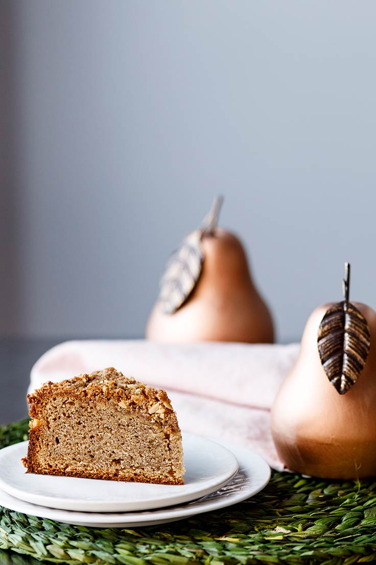 Amoretti Recipe: Pear Almond Coffee Cake slice - Gluten Free