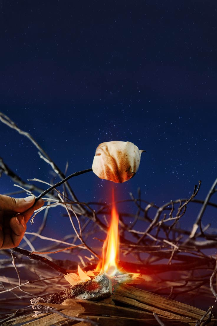 Amoretti Recipe: Inside Out S'mores over a campfire