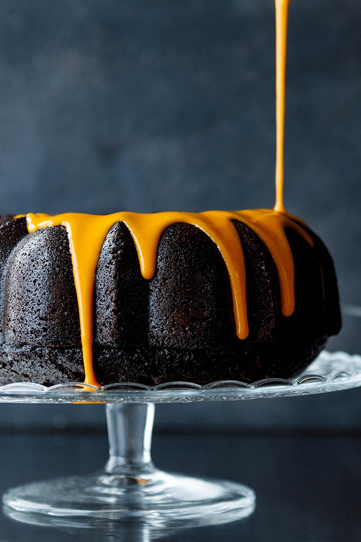 Amoretti Recipe: Chocolate Pumpkin Spice Bundt Cake with orange glaze only