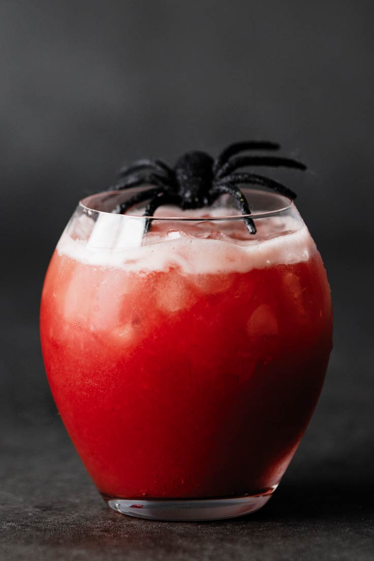 Amoretti Recipe: Boozy Zombie Brain Cocktail, garnish with a plastic spider for a spooky touch