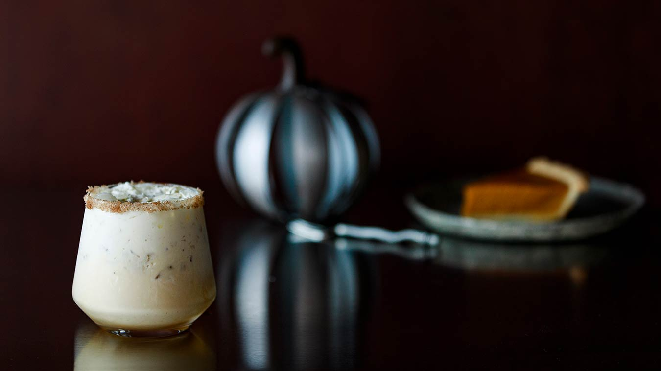 Amoretti Recipe: Pumpkin Pie White Russian with pie nearby