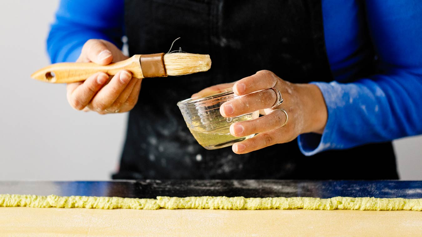 Amoretti Recipe: Agnolotti. An egg wash will seal the edge.
