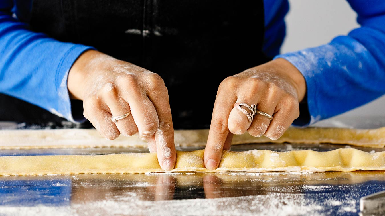 Amoretti Recipe: Agnolotti. Pinch to crimp individual agnolotti.